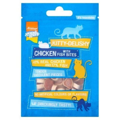 KITTY DELISHY REAL MEAT CAT TREATS GOOD GIRL CHICKEN WITH FISH BITES